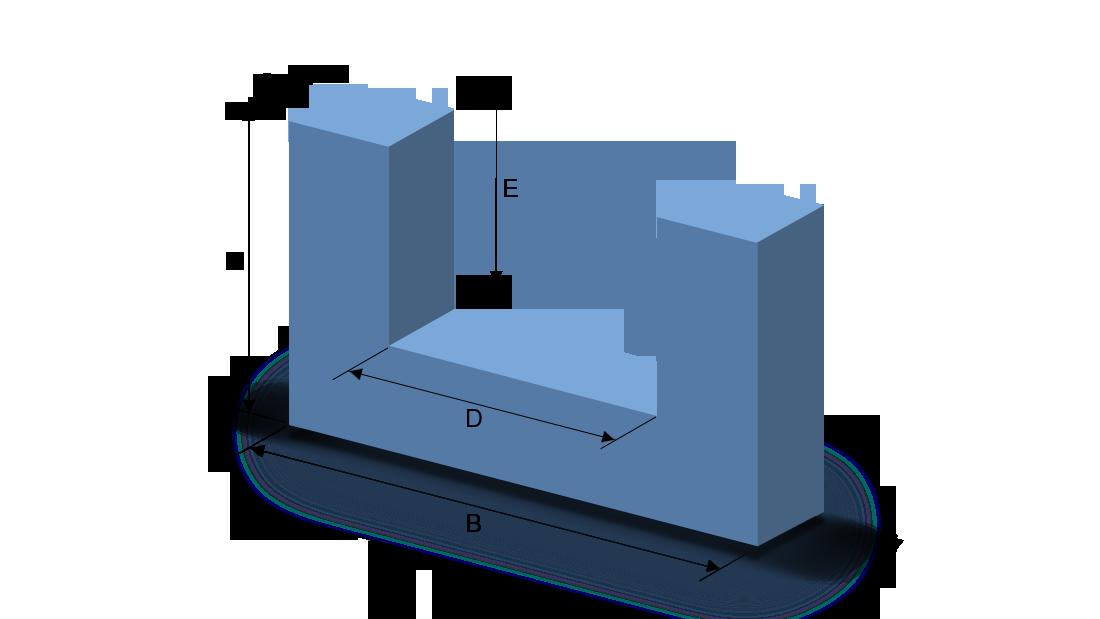 Schaumstoffzuschnitt Rechteck mit U-Ausschnitt