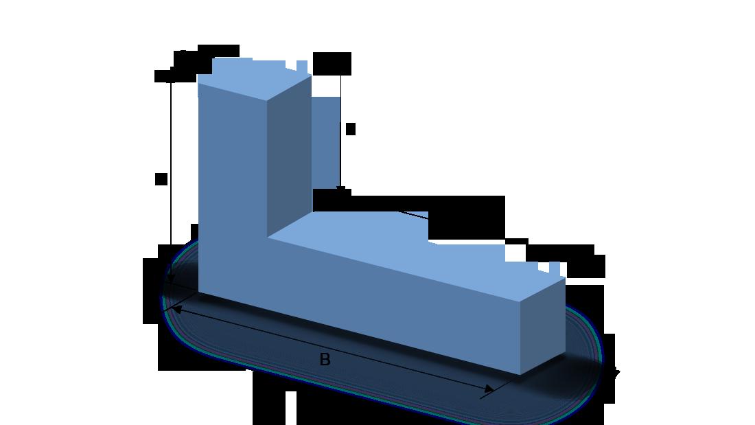 Schaumstoffzuschnitt Rechteck mit L-Ausschnitt