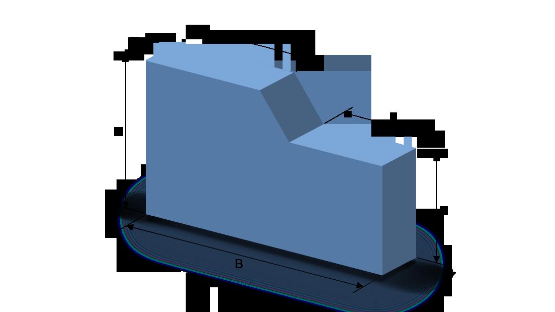 Schaumstoffzuschnitt Rechteck mit Abschnitt