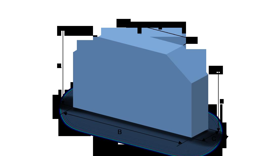 Schaumstoffzuschnitt Rechteck mit zwei Abschnitten