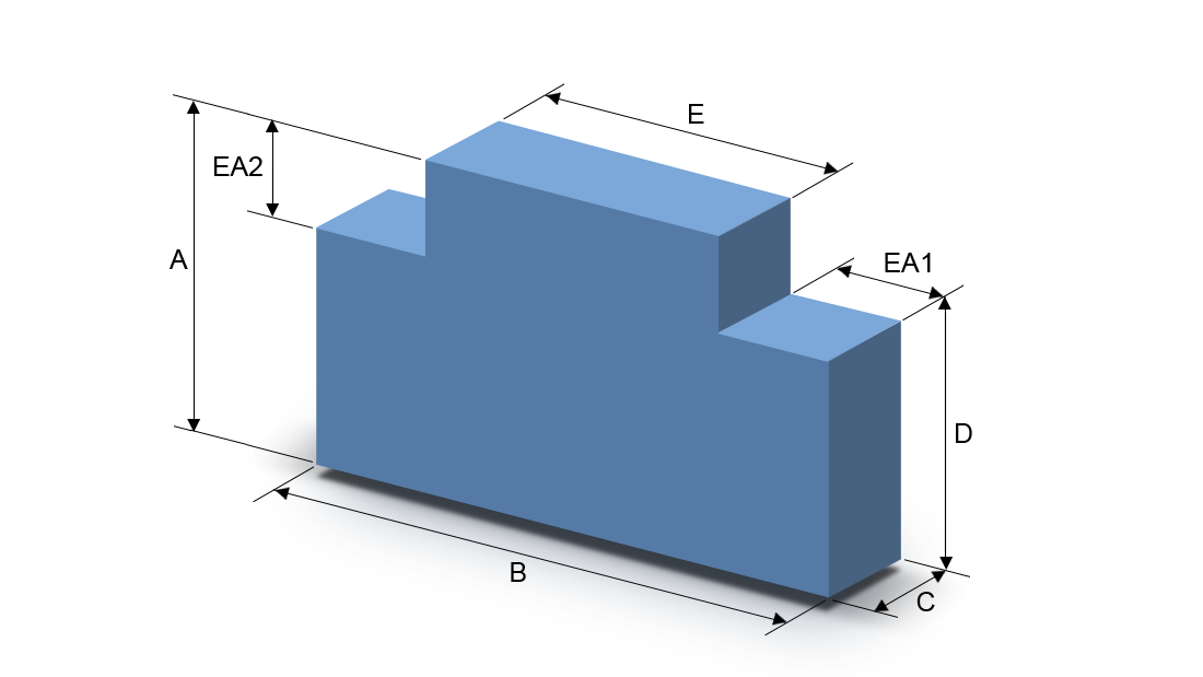 Schaumstoffzuschnitt Rechteck mit zwei Ausschnitten